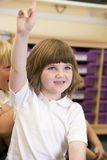 A schoolgirl raises her hand in a primary class Royalty Free Stock Photography