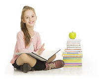School Girl Reading Book, Child Study Education, Books on White. School Girl Reading Book, Schoolgirl Child Study, Kid Education, Books and Apple on White Stock Image