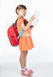 Schoolgirl reading a textbook. While standing on a white background Stock Photo