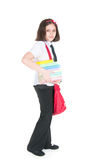 The schoolgirl with a red bag Stock Photos