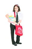 The schoolgirl with a red bag Stock Images