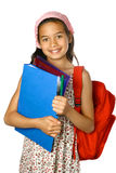 Schoolgirl with red rucksack Royalty Free Stock Image