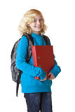 Schoolgirl with rucksack and folder smiles happy Stock Photos