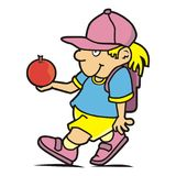 Schoolgirl with satchel and apple. Vector icon. Funny illustration Stock Image