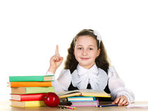 Schoolgirl with school accessories Royalty Free Stock Photography