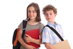 Schoolgirl and Schoolboy Stock Photos