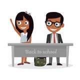 Schoolgirl and schoolboy sitting at Desk and raise my hand in class. vector illustration