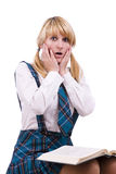 Schoolgirl is shocked by exams Royalty Free Stock Photo