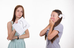 Schoolgirl shocked by obtained twos Royalty Free Stock Photo