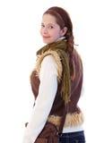 Schoolgirl with shoulder bag looking back Stock Photography