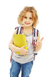 Schoolgirl showing OK sign Royalty Free Stock Images