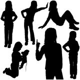 Schoolgirl Silhouettes. Schoolgirl - Detailed Black Silhouettes, Vector Stock Photos