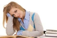 Schoolgirl sit book open smile look Stock Image