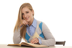 Schoolgirl sit with book smile Royalty Free Stock Photo