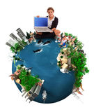 Schoolgirl sitting on the Earth Stock Images