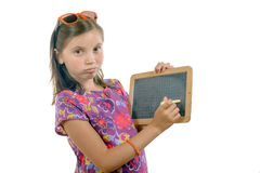 Schoolgirl with a slate Royalty Free Stock Photos