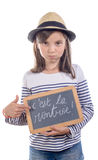 Schoolgirl with a slate Royalty Free Stock Photo