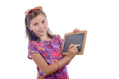 Schoolgirl with a slate Royalty Free Stock Images
