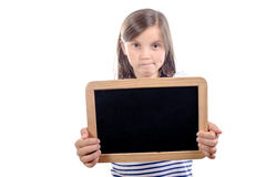 Schoolgirl with a slate Royalty Free Stock Image