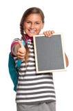 Schoolgirl with small blackboard Stock Image