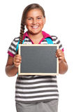 Schoolgirl with small blackboard Stock Image