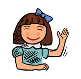 Schoolgirl smiled and raised his hand to answer. Vector color illustration. Isolated on white background vector illustration