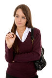 Schoolgirl smoking Stock Photography