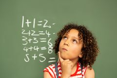 Schoolgirl standing against green board in a classroom at school. Front view of a cute thoughtful mixed-raced schoolgirl standing against green board with one stock images
