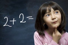 Schoolgirl stay near school blackboard. Royalty Free Stock Photos