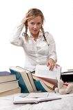 Schoolgirl or student embarassed. She has been tackled from head. Books are left about around her. On white Stock Photos