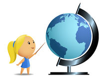 Schoolgirl student point globe Royalty Free Stock Image