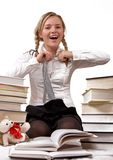 Schoolgirl or student taking off tie Stock Image