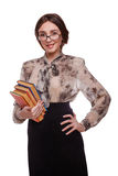 Schoolgirl student teacher woman in glasses girl with books isol Stock Photos