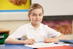 Schoolgirl Studying In Classroom Royalty Free Stock Photography