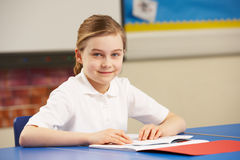 Schoolgirl Studying In Classroom Royalty Free Stock Photos