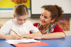 Schoolgirl Studying In Classroom With Teacher Royalty Free Stock Photo