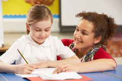 Schoolgirl Studying In Classroom With Teacher Stock Photos