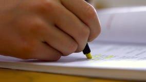 Schoolgirl studying at desk in school stock video