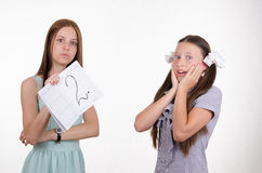 Schoolgirl surprised obtained deuce Royalty Free Stock Photography