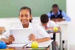 Schoolgirl tablet computer Stock Image