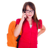 Schoolgirl talking on mobile phone Stock Photo