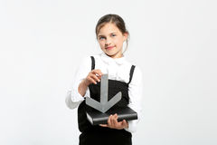 Schoolgirl with textbook. Royalty Free Stock Image