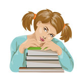 schoolgirl with textbooks on a flat style. Schoolgirl with textbooks in a flat style. vector illustration Royalty Free Stock Photo