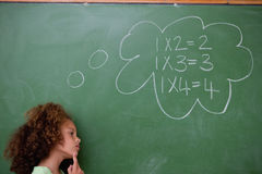 Schoolgirl thinking about algebra stock photo