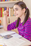 Schoolgirl thinking Stock Images