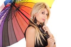 Schoolgirl with umbrella Royalty Free Stock Image