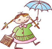 Schoolgirl with an umbrella Royalty Free Stock Photography