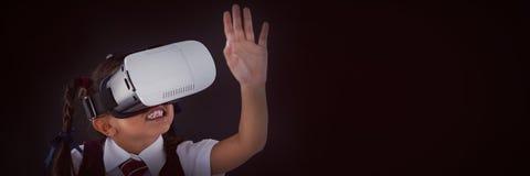 Schoolgirl using virtual reality headset against blackboard royalty free illustration