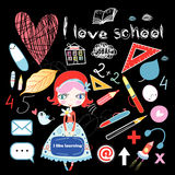 Schoolgirl and various school sites Stock Photos