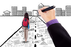 Schoolgirl walking on doodles toward a door Stock Photography